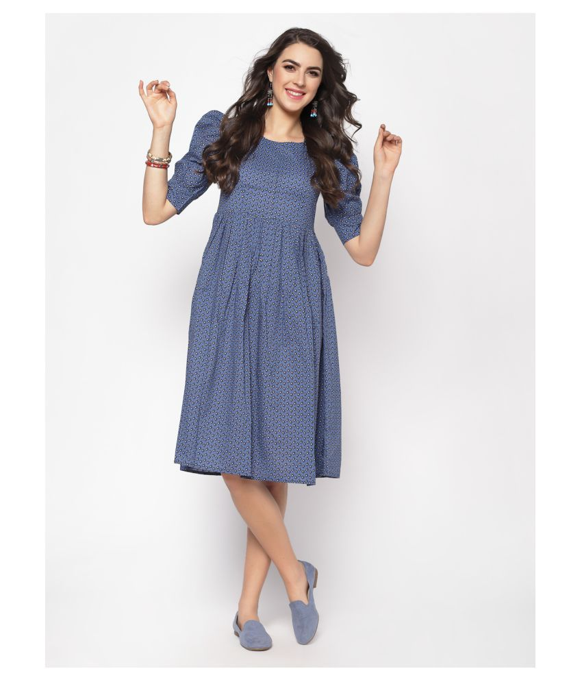 Sera Cotton Navy Fit And Flare Dress