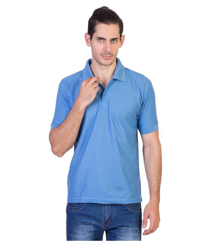 HVN Cotton Blend Light Blue Plain Polo T Shirt