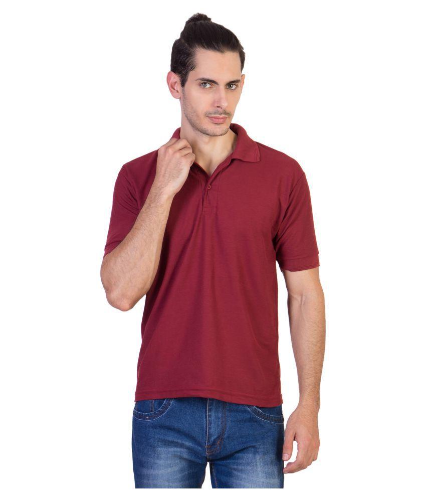 HVN Cotton Blend Maroon Plain Polo T Shirt