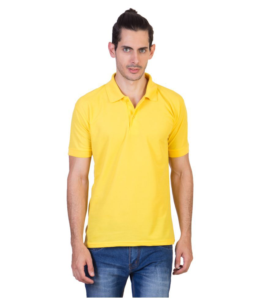 HVN Cotton Blend Yellow Plain Polo T Shirt