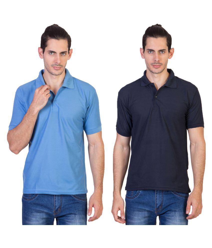 HVN Cotton Blend Multi Plain Polo T Shirt