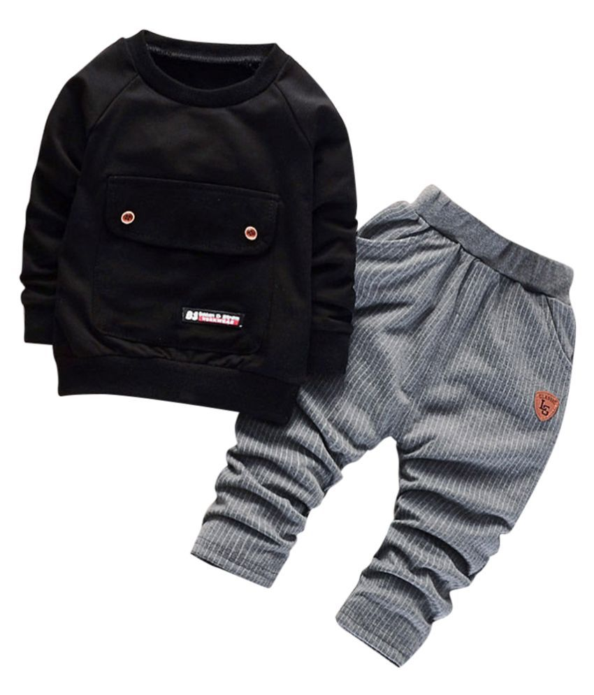 Hopscotch Baby Boys Cotton And Spandex Full Sleeves Solid Sweatshirt And Pant Set in Black Color For Ages 12-18 Months (ERB-3139603)