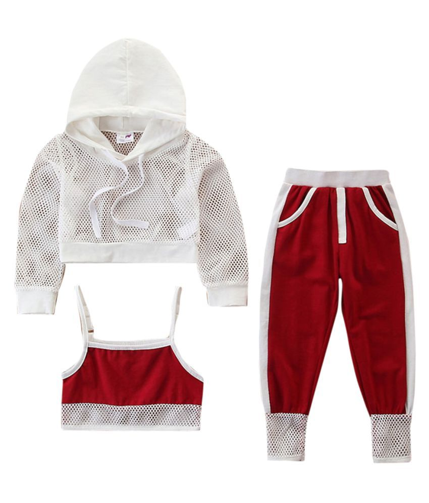 Hopscotch Baby Girls Cotton Solid Full Sleeves Hoodie And Pant Set in Red Color For Ages 12-24 Months (SB9-3109319)