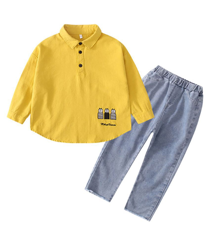 Hopscotch Boys Cotton And Fiber Full Sleeves Solid Polo T-Shirt And Jeans Set in Yellow Color For Ages 3-4 Years (LSM-3155821)