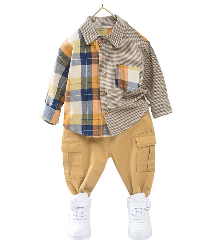 Hopscotch Boys Cotton And Polyester Full Sleeves Applique Checked Printed Shirt And Pant Set in Yellow Color For Ages 3-4 Years (YUE-3154750)