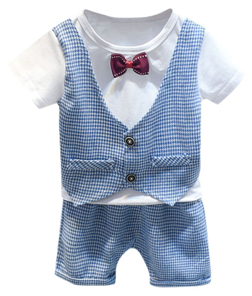 Hopscotch Boys Cotton And Polyester Half Sleeves Applique Bow Solid T-Shirt And Short Formal Set in Blue Color For Ages 3-4 Years (BD9-3410782)