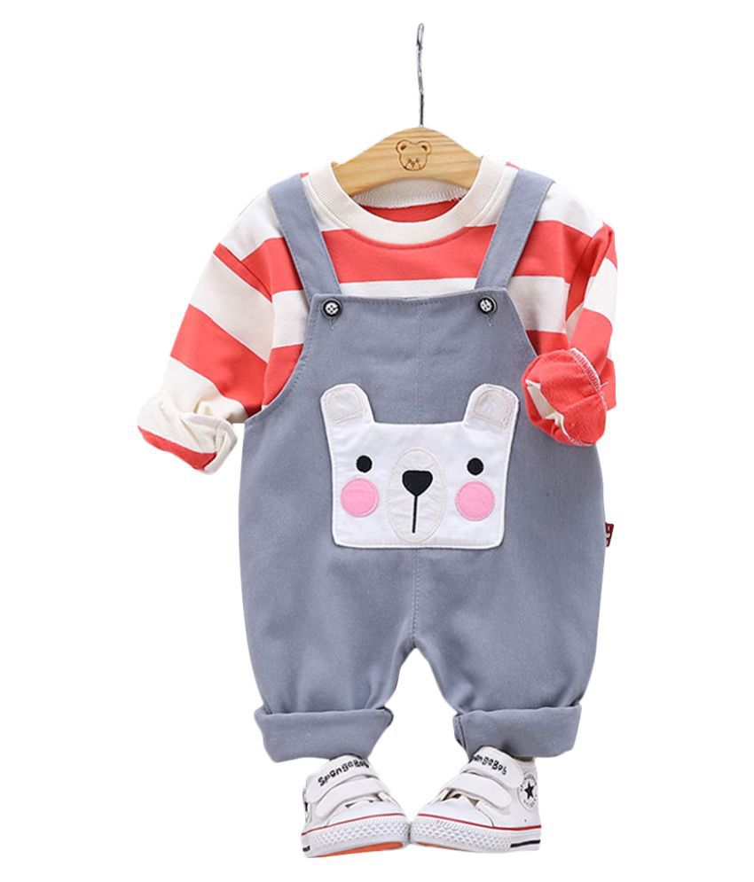 Hopscotch Boys Cotton And Polyester Full Sleeves Applique Animal Horizontal Stripes Printed T-Shirt And Dungaree in Multi Color For Ages 3-4 Years (YUE-3154706)