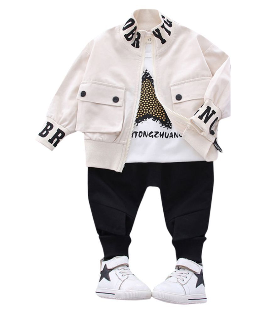 Hopscotch Boys Cotton And Polyester Full Sleeves Solid T-Shirt Jacket Jeans Layering Set in Beige Color For Ages 3-4 Years (YF0-3208244)