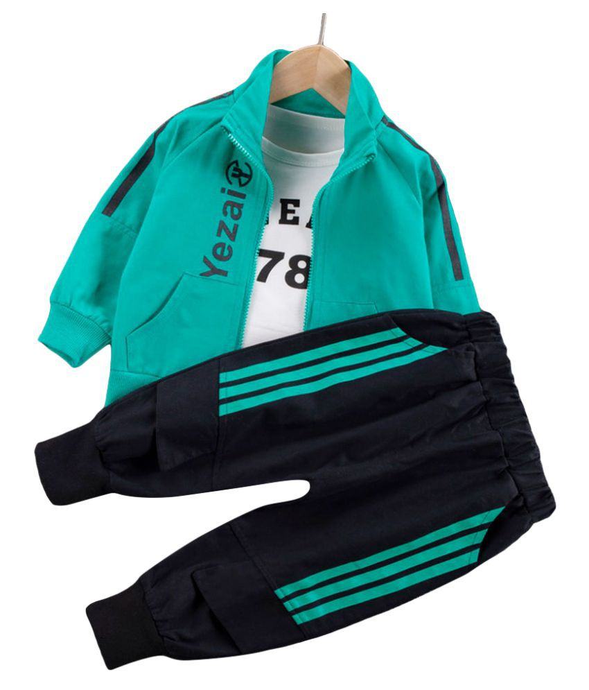 Hopscotch Boys Cotton And Polyester Text Printed Full Sleeves T-Shirt, Jacket And Jogger Set Layering Set in Green Color For Ages 4-5 Years (YF0-3316191)