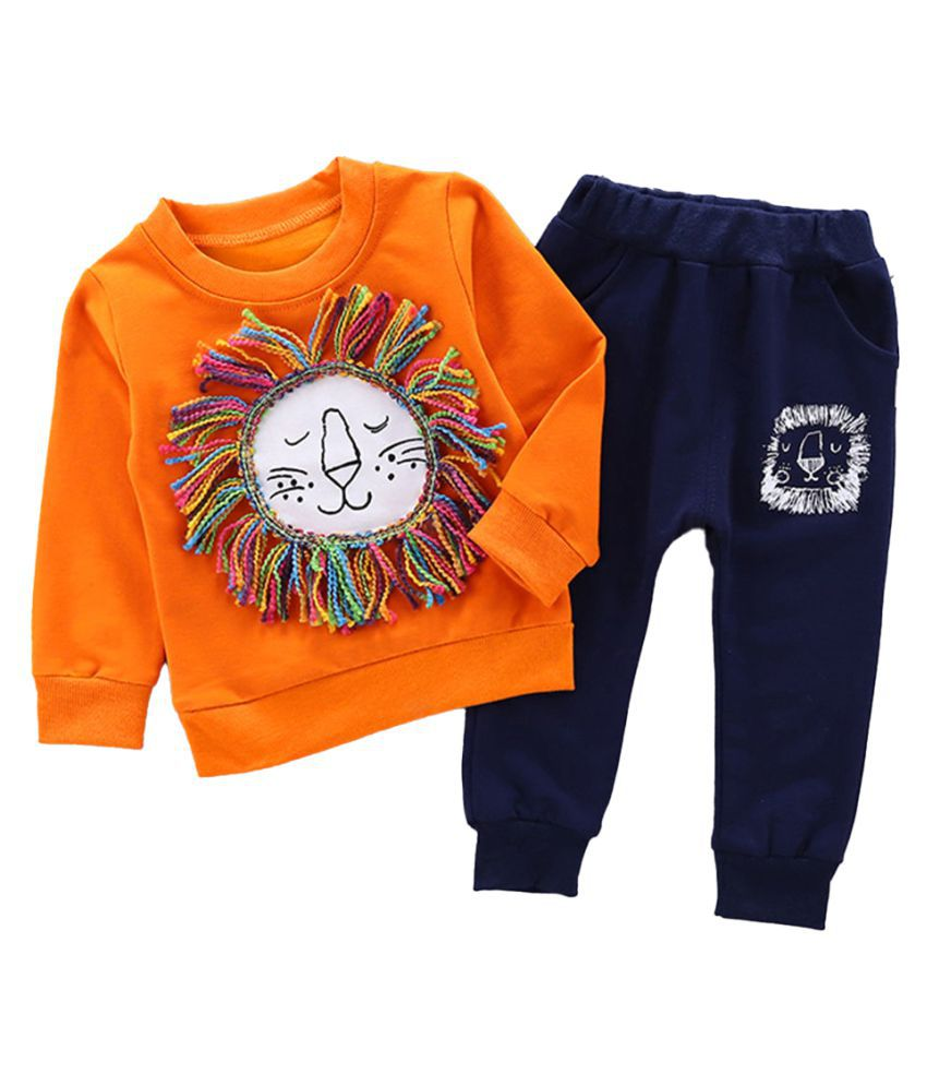 Hopscotch Boys Cotton And Spandex Full Sleeves Applique Solid Sweatshirt And Jogger Set in Orange Color For Ages 4-5 Years (WER-3409279)
