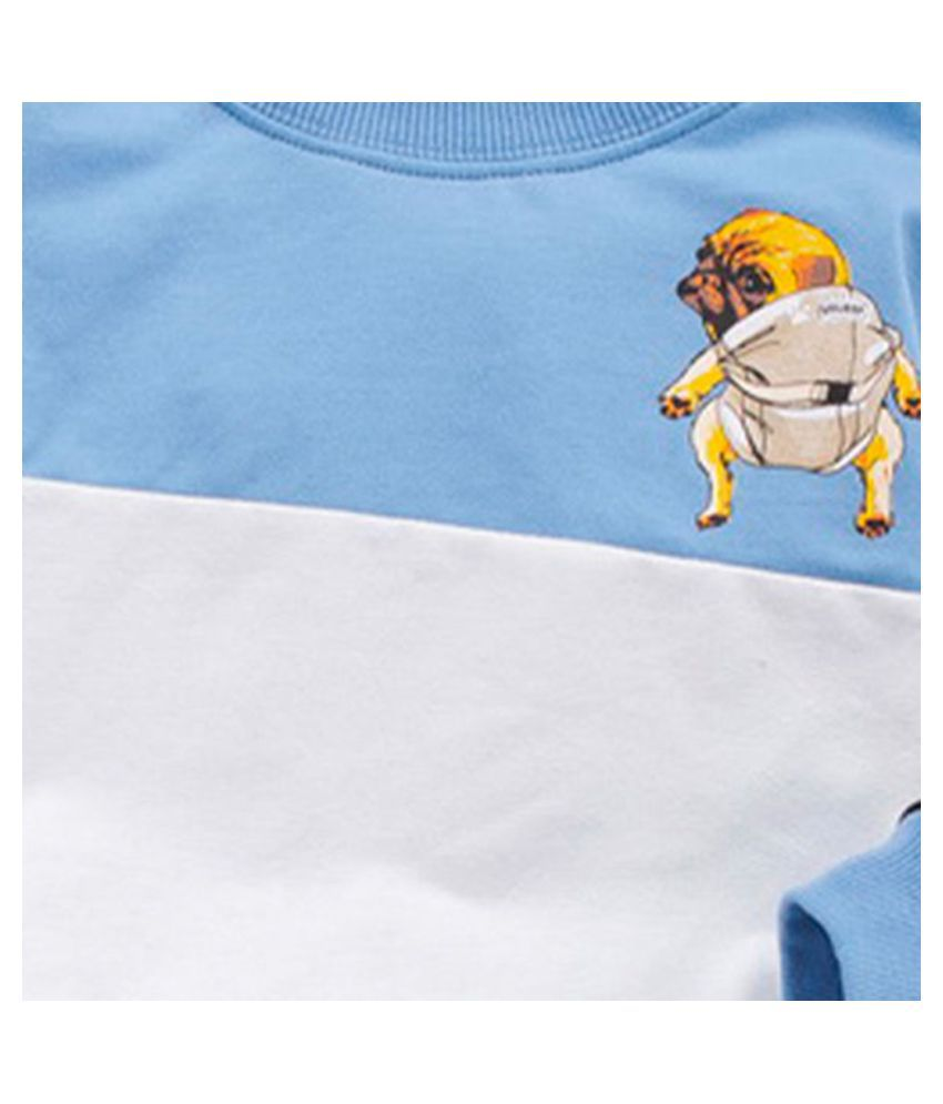 Hopscotch Boys Cotton Full Sleeves Solid Sweatshirt And Jogger Set in Blue Color For Ages 2-3 Years (WER-3409313)