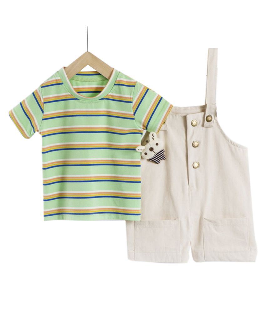 Hopscotch Boys Cotton Spandex Stripes Half Sleeves T-Shirt And Overall Set in Green Color For Ages 4-5 Years (XHZ-3060931)