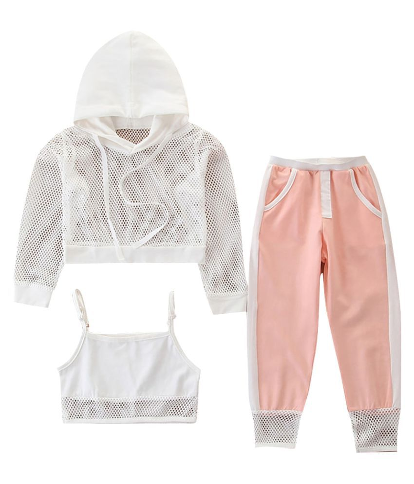 Hopscotch Girls Cotton Full Sleeves Hoodie With Crop Top And Jogger Sets in Pink Color For Ages 2-3 Years (SB9-3060712)