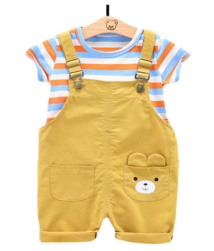 Hopscotch Girls Cotton Polyester Strip Print Half Sleeve Top And Dungaree Set in Yellow Color For Ages 5-6 Years (FB3-3079900)