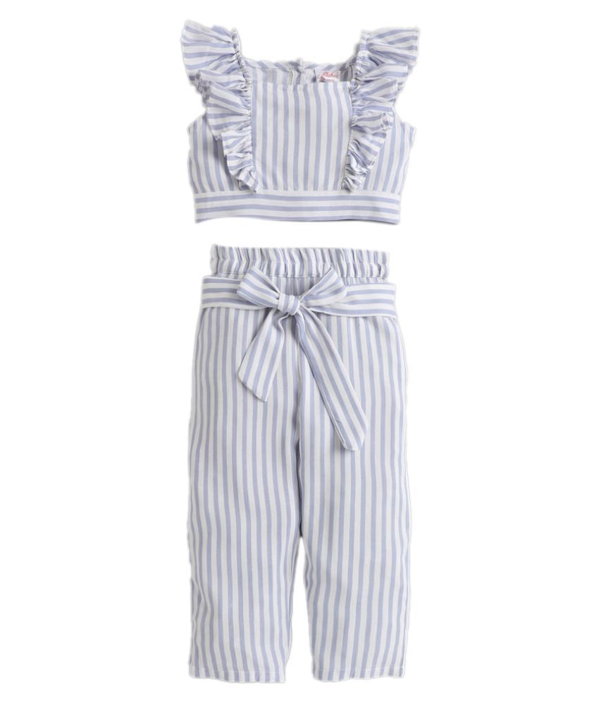Hopscotch Girls Cotton Stripe Printed Pant Set in Blue Color For Ages 5-6 Years (0PT-3386443)