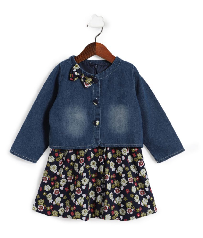 Hopscotch Girls Cotton and Polyester All Over Print Dress With Jacket in Blue Color For Ages 6-7 Years (ADX-2363068)