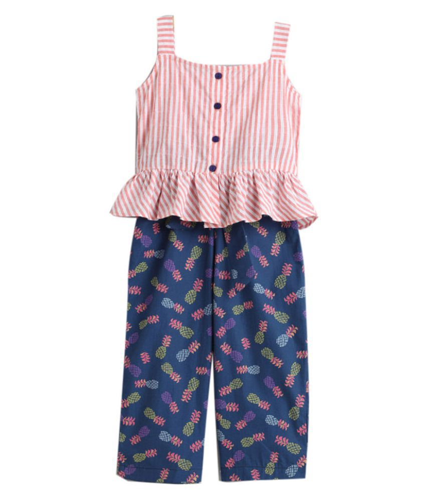 Hopscotch Girls Rayon and Viscose Sleeveless Top And Pant Set in Navy Color For Ages 11-12 Years (0PT-3423314)