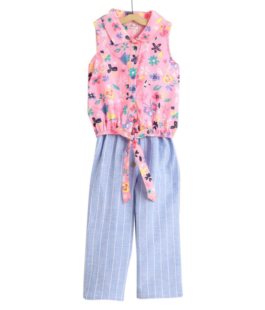 Hopscotch Girls Rayon and Viscose Sleeveless Floral Print Top And Stripes Printed Pant Set in Blue Color For Ages 4-5 Years (0PT-3423327)