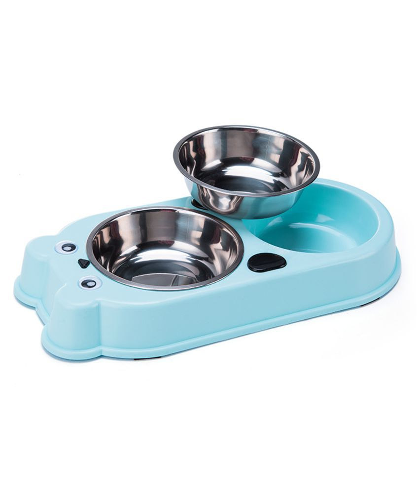 Emily Pet Double Dog Cat Bowls Double Premium Stainless Steel Pet Bowls with Cute Modeling Pet Food Water Feeder