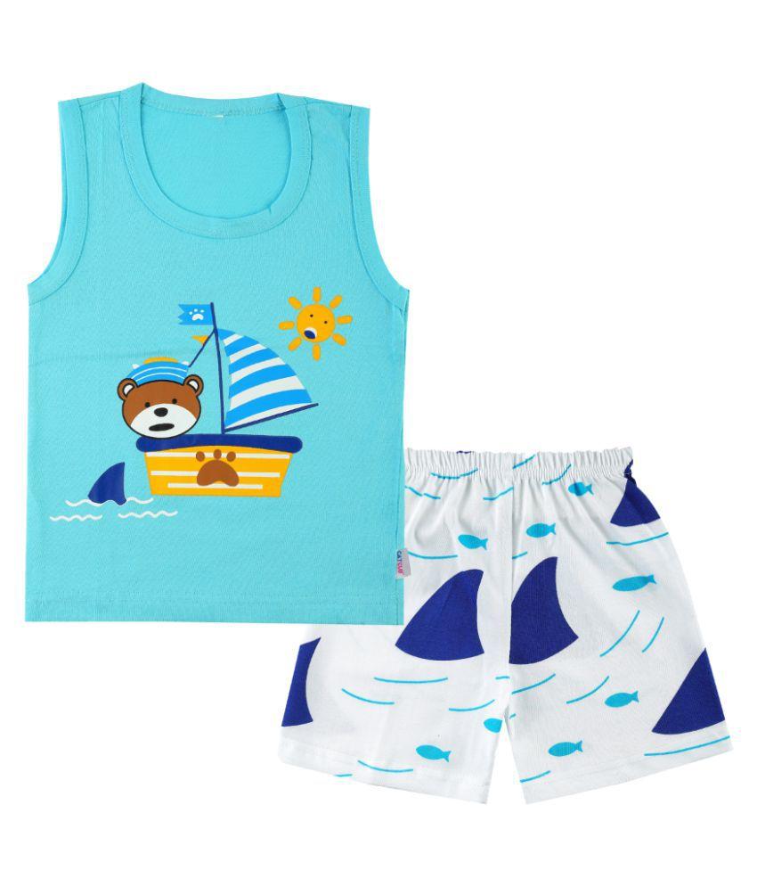 CATCUB Boy's & Girl's Cotton  Printed Clothing Set (Blue)