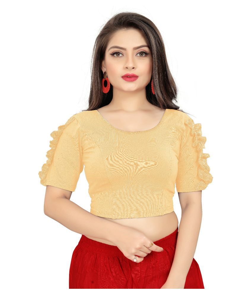 Pasand Beige Lycra Readymade without Pad Blouse