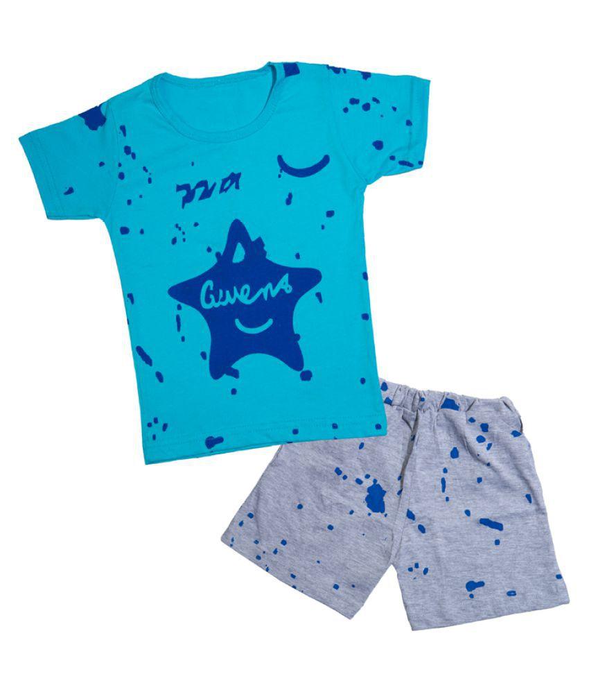 CATCUB Kids Cotton Star Printed Clothing Set (Blue)
