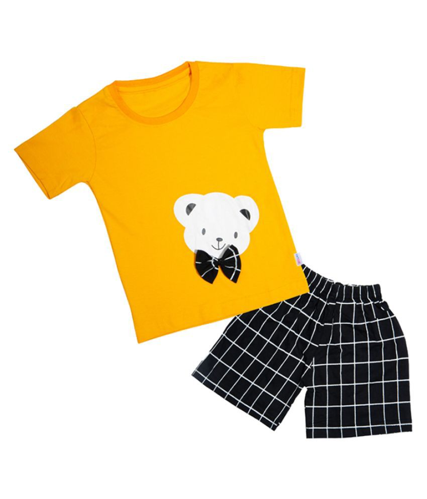 CATCUB Kids Cotton Teddy Printed Clothing Set (Yellow)