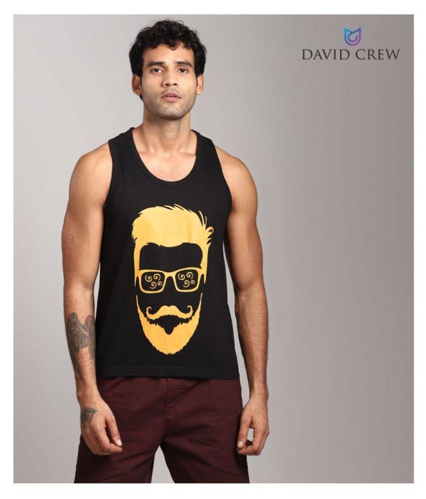 David Crew 100 Percent Cotton Black Printed T-Shirt