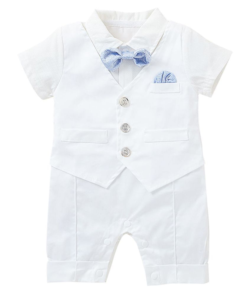 Hopscotch Baby Boys Cotton, Poly Bow Applique Romper in White Color For Ages 12-18 Months (SN-1945997)