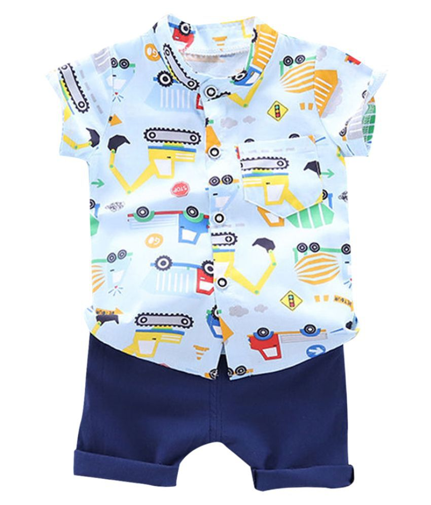 Hopscotch Boys Cotton And Polyester Half Sleeves Art Printed Shirt And Shorts Set in Multi Color For Ages 2-3 Years (YAH-2945590)