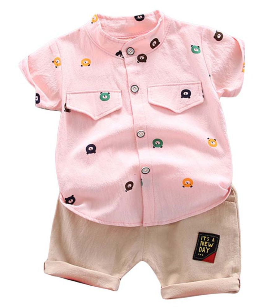 Hopscotch Boys Cotton And Spandex Art Printed Half Sleeves Shirt And Shorts Set in Pink Color For Ages 3-4 Years (YUE-2952912)