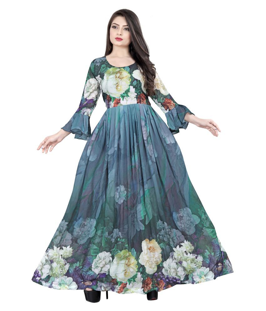 High Street Fashion Style Georgette Multi Color A- line Dress