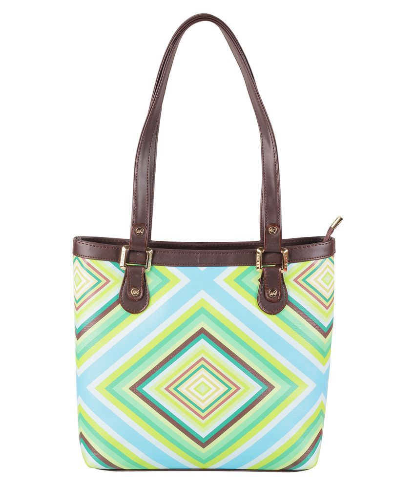 Metro Green Faux Leather Tote Bag