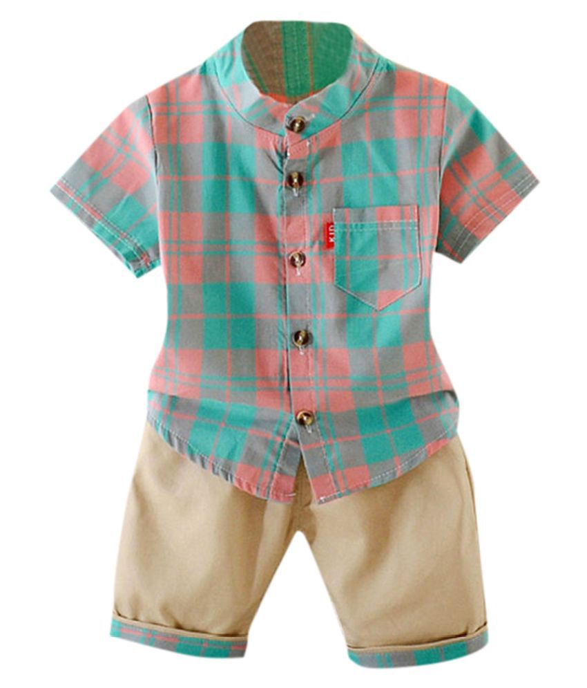 Hopscotch Boys Cotton Polyster Half Sleeves Checks Printed Short Set in Pink color for Ages 3-4 Years (BD9-3377666)