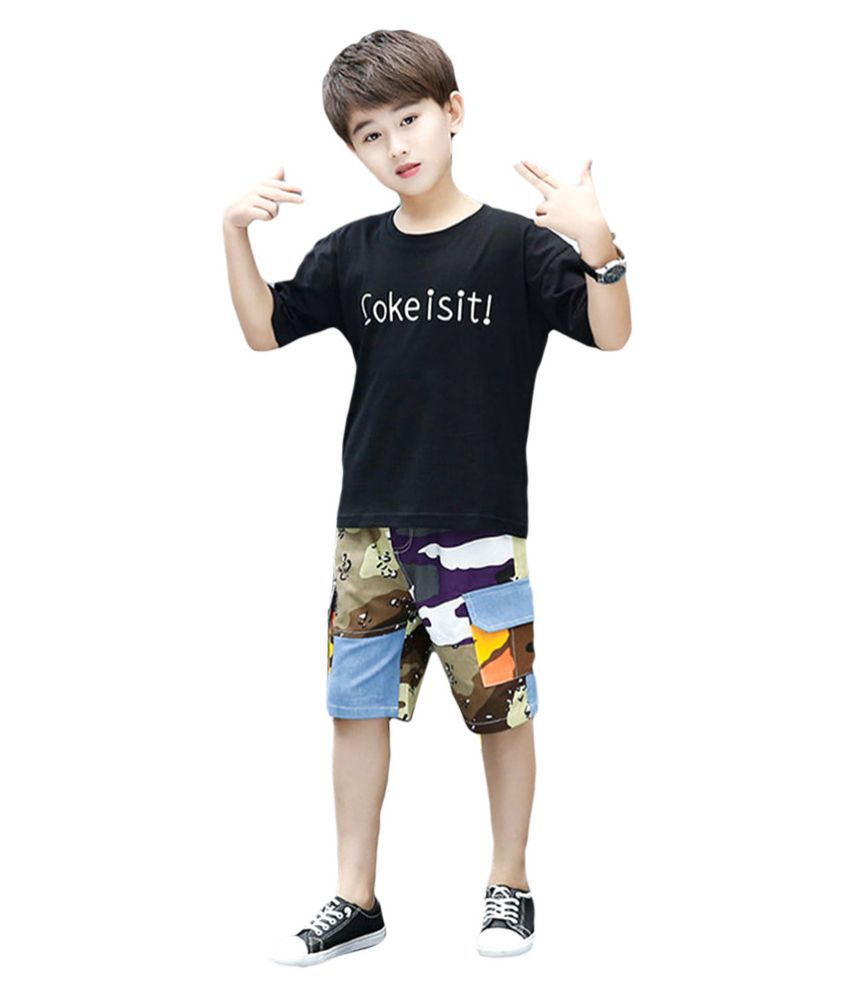 Hopscotch Boys Cotton and Polyester Shirt with Capri Set in Black color for Ages 7-8 Years (SYB-2916073)
