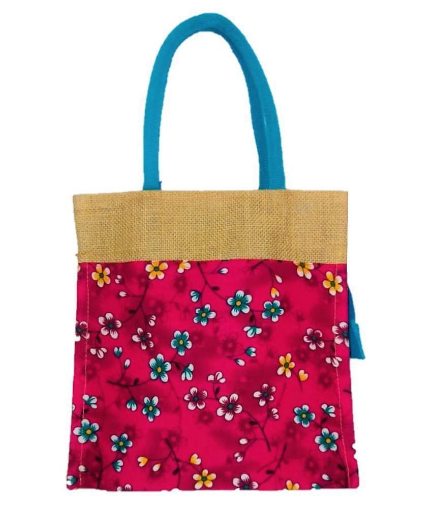 Rising Staar Pink Jute Tote Bag