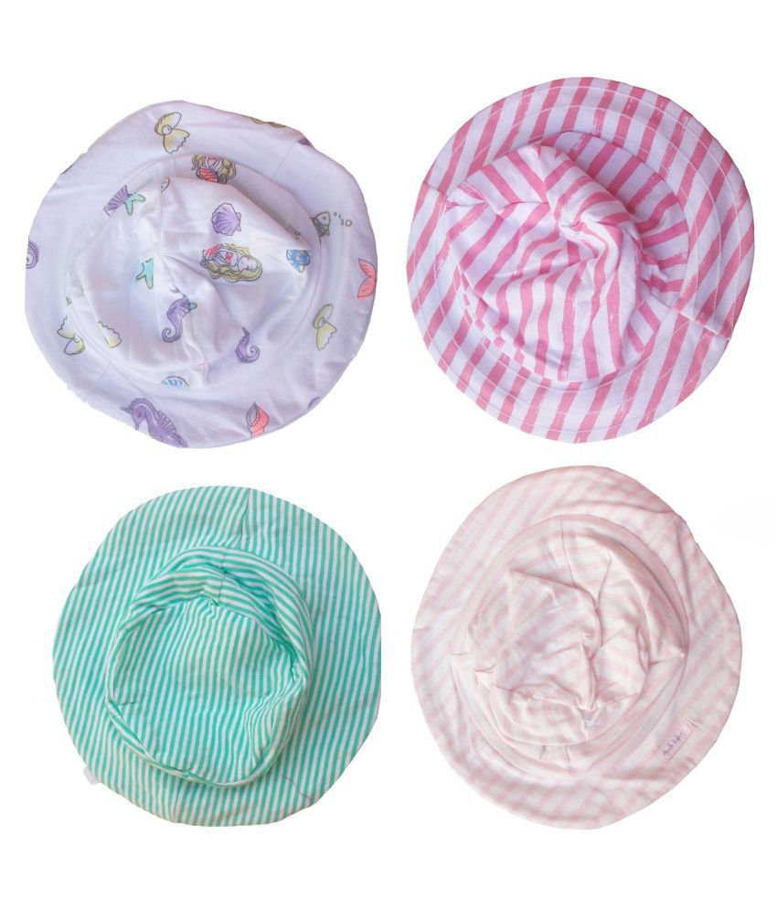 Baby Girls Multicolored Cotton Hats-Set of 4