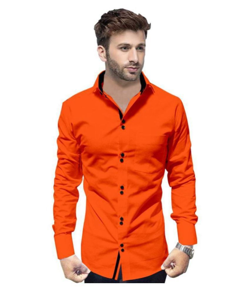 P&V Cotton Blend Orange Shirt