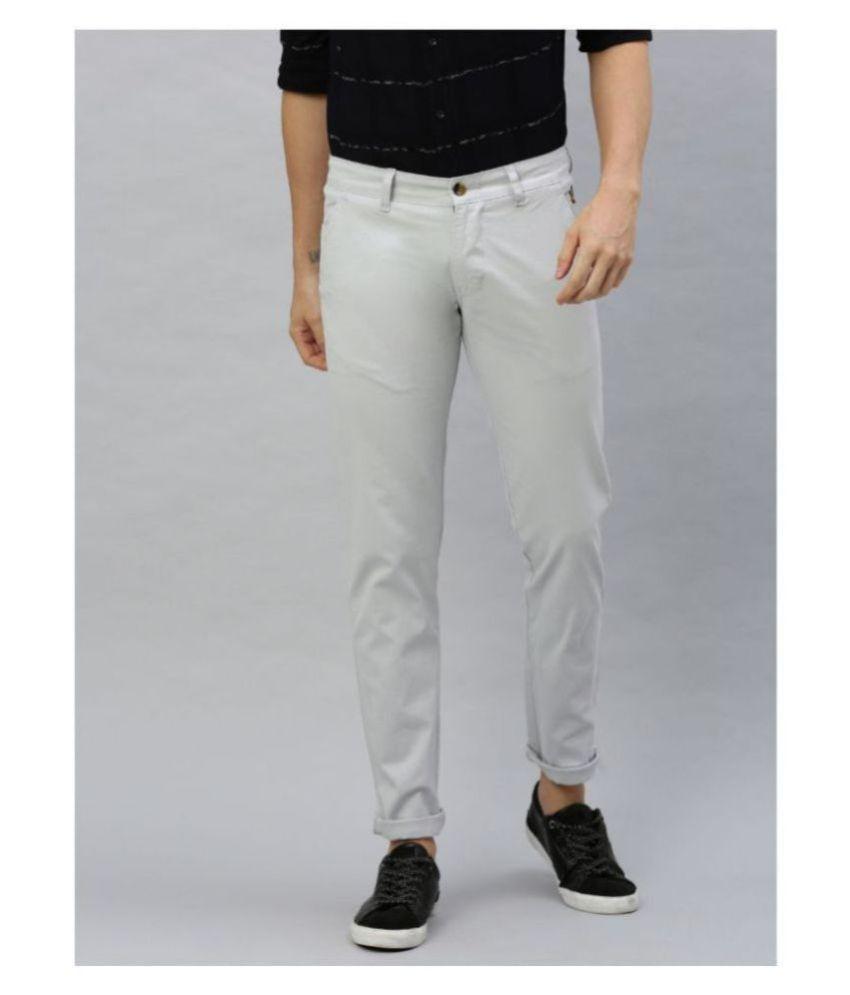 Urbano Fashion Grey Slim -Fit Flat Chinos