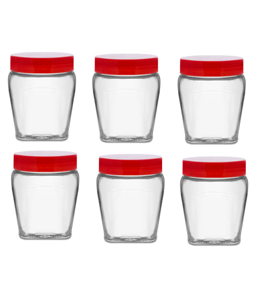 CROCO JAR 300ML-TULSI-Red lid Glass Spice Container Set of 6 300 mL