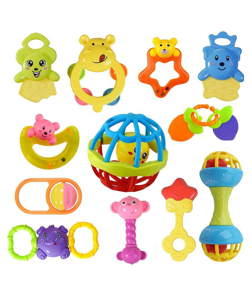 WISHKEY Plastic Colorful Non Toxic BPA Free 9 Shake & Grab Rattles and 3 Soothing Teethers for Babies & Infants, Early Age Toys For Kids ( Pack Of 12, Multicolor)