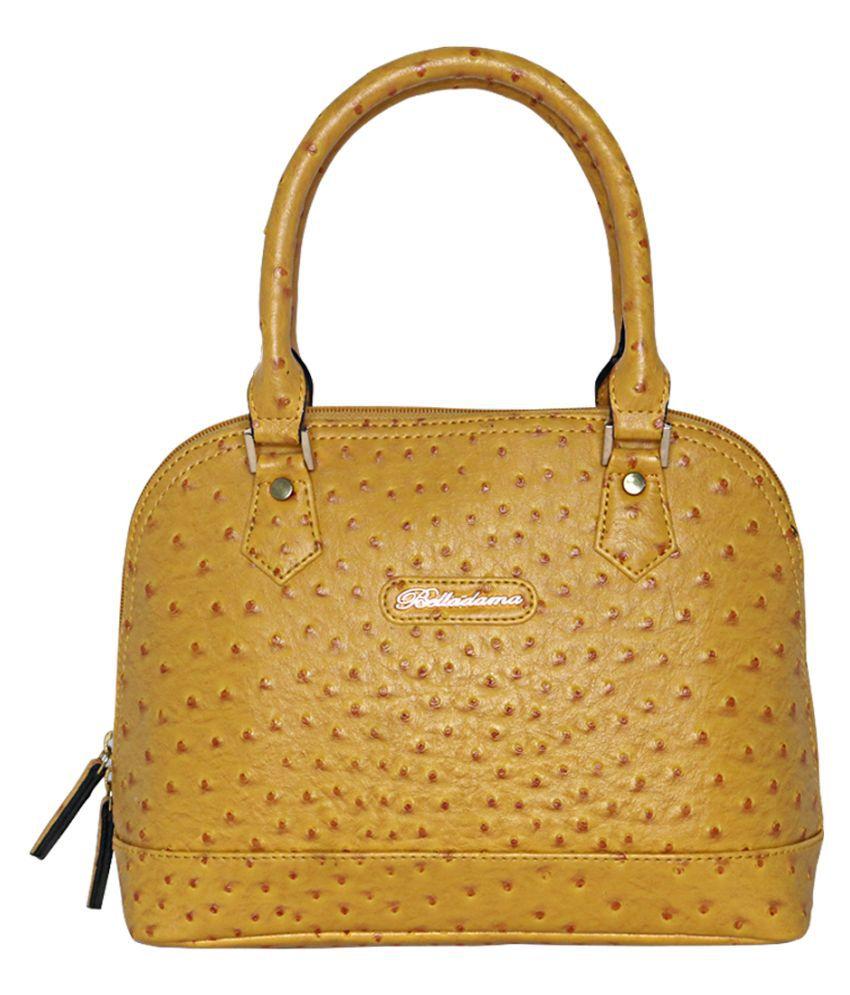 Belladama Yellow Faux Leather Handheld