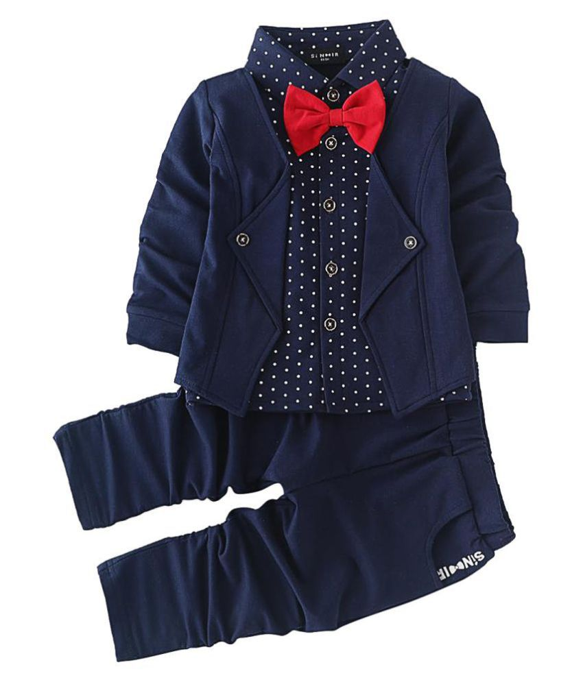 Hopscotch Boys Cotton and Spandex Blazer Style Shirt And Pant Set in Navy Color For Ages 4-5 Years (SN-1569906)