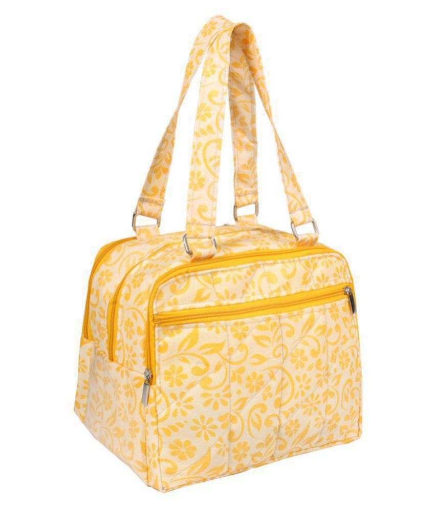 PrettyKrafts Yellow Fabric Shoulder Bag