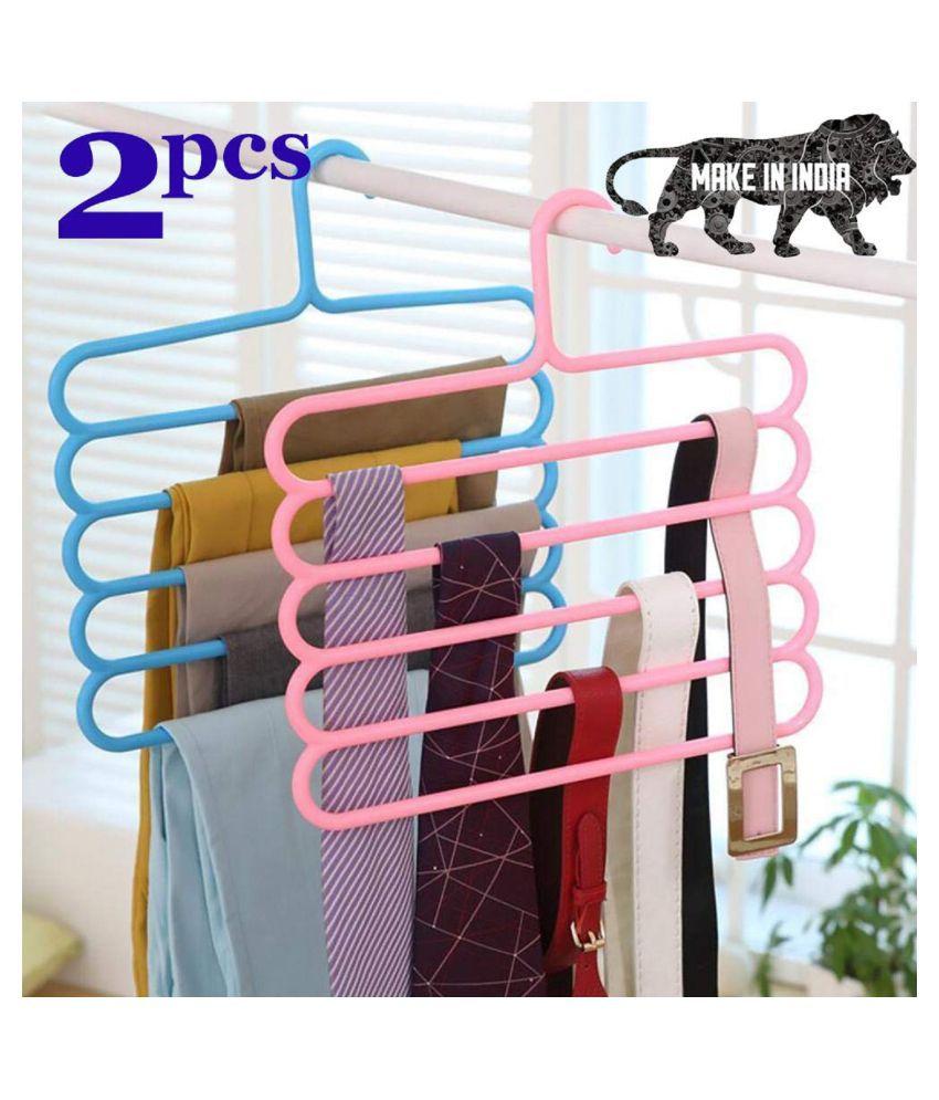 LDL(5 Layer Plastic Clothes Hanger (Set of 2)