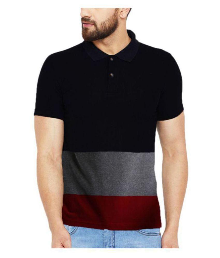 Leotude Cotton Blend Silver Color Block Polo T Shirt