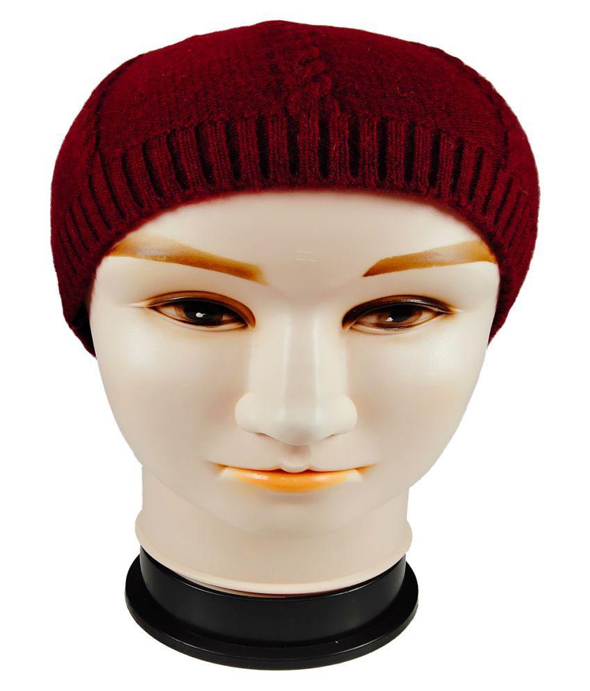WARMZONE Maroon Plain Wool Caps