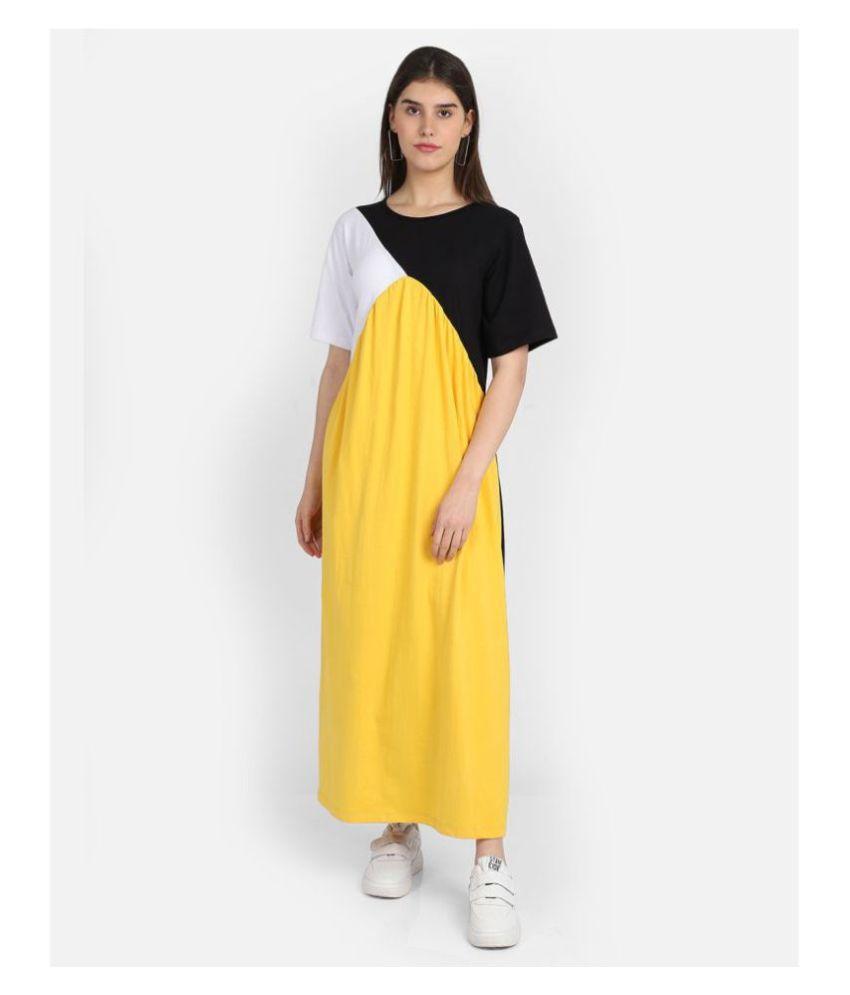 Marzeni Cotton Lycra Multi Color Regular Dress