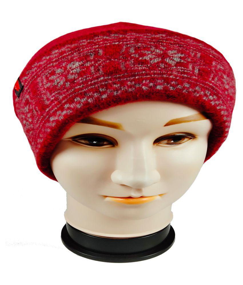 WARMZONE Red Plain Wool Caps