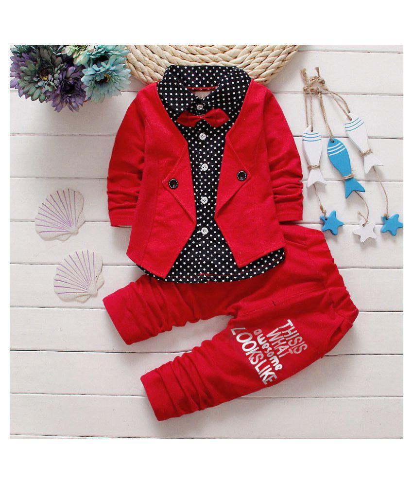 DWIDEN Boys Cotton Blazer Style Shirt and Pant Set